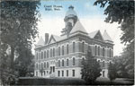 Colored postcard of the court house in Blair. Postmarked 1918. No. 9185.